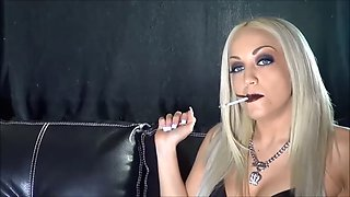 Sexy blue eyed blonde smoking longs