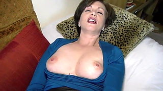 Hot Mom Teases In Fishnet Pantyhose And Has Simulated Sex