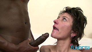 Zazala Coquine takes 2 dicks and 2 messy loads in interracial MFM trio