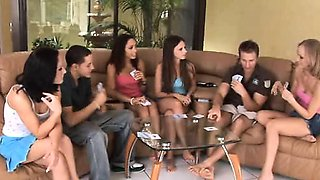 Hot teens Leah, Lina and playing strip poker and fucking