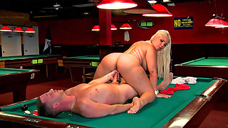 Curvy blonde slut fucked on the pool table so well