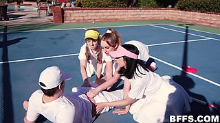 Naked girls share a dick on the tennis court and it all goes wild