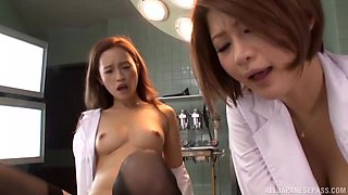 Good looking Hamasaki Mao and another girl like to share a dick