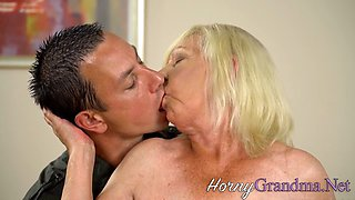 Chubby old lady rimmed