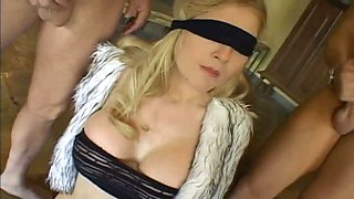 Blind folded wife Michelle Barratt gets double penetrated