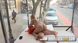 BoxTruckSex - Sexy blonde fucks for money in a public street