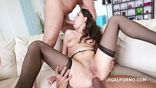 Two babes get double penetrated together and love it