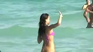 Jessica Alba - Purple Bikini Beach Voyeur