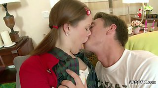 Petite sister Seduce to Fuck and Facial by Step-brother