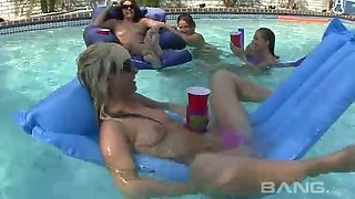 Just a video of insanely hot chicks swimming in the pool half naked