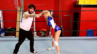 Superheroine Wonder Girl Defeated and Completely Humiliated in the Ring
