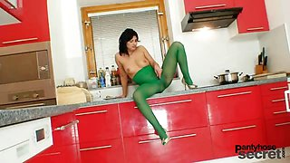 Hot latina posing in sheer nylon pantyhose