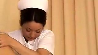 Lucky patient has a delightful Japanese nurse blowing his h