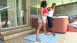 Ebony chick with big bubbled ass Dee Rider gets her muff stretched by kinky neighbor