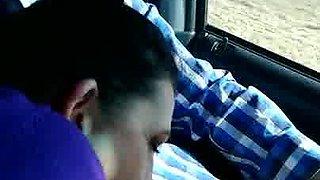 Blow dad in car
