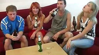 College Foursome Party in Full Play