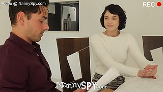 NannySpy Perky breasted babysitter Cadey Mercury fucks for job