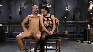Horny mistress loves bondage with her slave