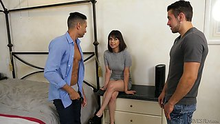 Fucking hot chick Penelope Reed is having dirty sex fun with two bisexual dudes