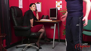 Small dick man jerks off while naughty Sapphire Rose watches