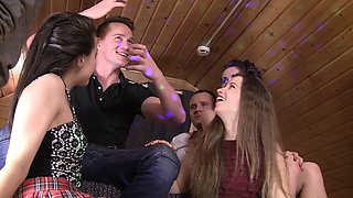 Aruna & Izi & Sabrina & Stephany in hot student girls share big dicks between them