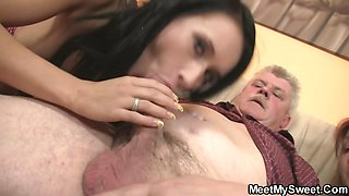 Nasty girl fucking with her BF\'s old parents