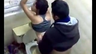 Cocky friend fucks his drunk curvy Latina girlfriend in the restroom