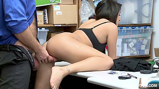 Bent over the working desk Isabella Nice gets nailed from behind
