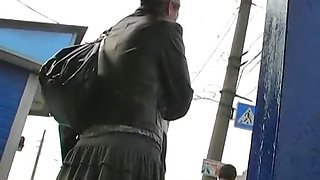Cute pantyhose upskirt voyeured here