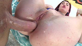 Red-haired bitch was analyzed hard by big dick in close-up scene
