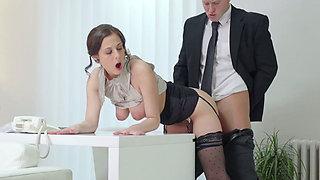Slutty brunette secretary Antonia Sainz gets banged by her boss