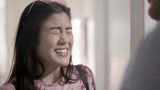 Asian stepdaughter teen having a little wet accident