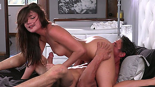 Wet pussy of stunning leggy Adria Rae is polished by aroused man