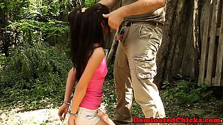 Handcuffed submissive doggystyled outdoors