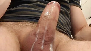 Big creamy cum load running slowly from and on my thick cock