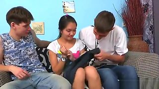 Fella Assists With Hymen Check-up And Riding Of Virgin Chick