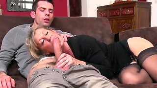 gorgeous MILF takes junior cock