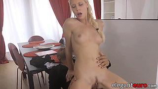 Petite blonde maid banged by her big cocked black boss