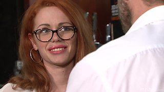 Ella Hughes wearing glasses and having her pierced twat banged