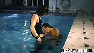 Rachel Starr fucking the dude in the pool like a superhero