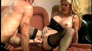 Dakota in stockings having her pussy fingered then ravished