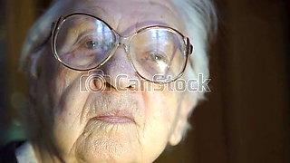 Granny looking  at a big cock