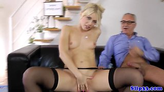 Classy beauty sixtynining with older guy