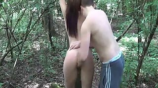 Teen slave fist fucked whilst tied to a tree