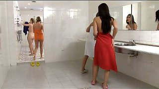 CFNM in the shower with 5 girls