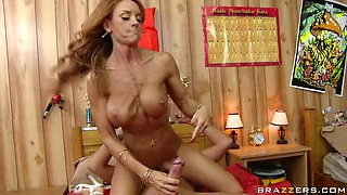 Big Breasted Redhead Cougar Janet Mason Pleasing a Big Cock
