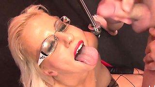 Naughty girl with glasses her first bukkake