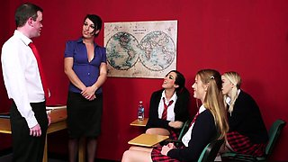 CFNM schoolgirls dicksucking humiliated sub