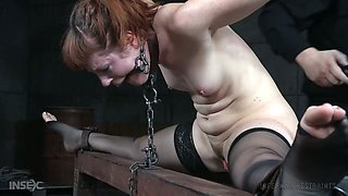 Red haired bitch Barbary Rose gets her pussy punished in the bdsm room