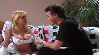 Baby Sitter Sucks Off The Husband While The Wifes on bed